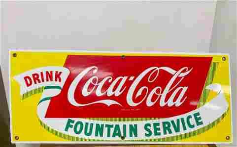 Original Porcelain Coca Cola Fountain Service Sign