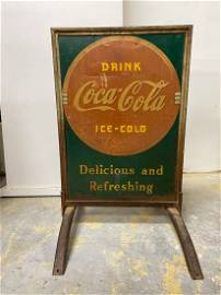 1950s HTF Coca Cola Ice Cold GENERAL STOREFRONT SIGN