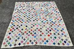 1970S NEW NEVER WASHED CATHEDRAL WINDOWS QUILT WOWWWW!