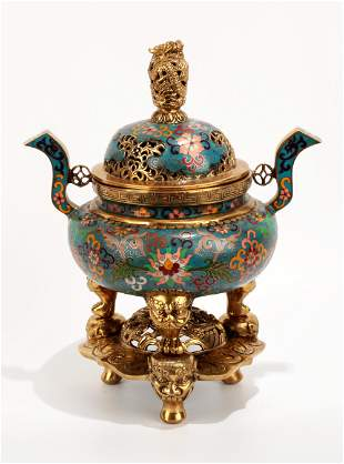 A CHINESE CLOISONNE ENAMEL CENSER AND COVER WITH TWO