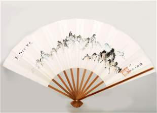 A KOREAN PAINTED ON PAPER FAN WITH A RED COLOR SEAL OF