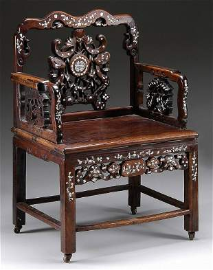 FINE ELABORATE ROSEWOOD CARVED CHINESE MOTHER-OF-PEARL