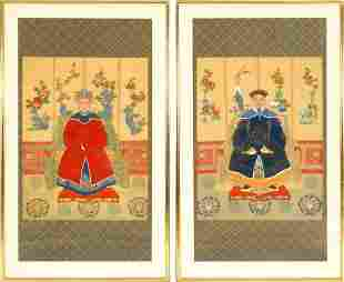 (2)  A PAIR OF CHINESE ANCESTRAL PORTRAITS MANDARINS