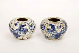 (2)  A PAIR OF BLUE AND WHITE PORCELAIN JARS.C472.