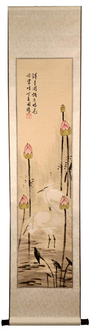 SIGNED HU KAIXI. CHINESE INK AND COLOR ON PAPER HANGING