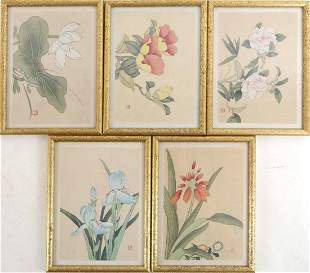 (5) A SET FIVE FRAMED Floral Prints.H181.