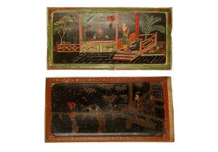 (2) A PAIR OF CHINESE WOOD PAINTED PANELS.M066.