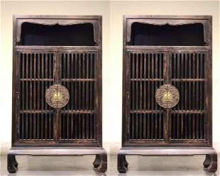 (2) A PAIR OF LACQUERED DOOR, YU-MU WOOD FRAMEWORK