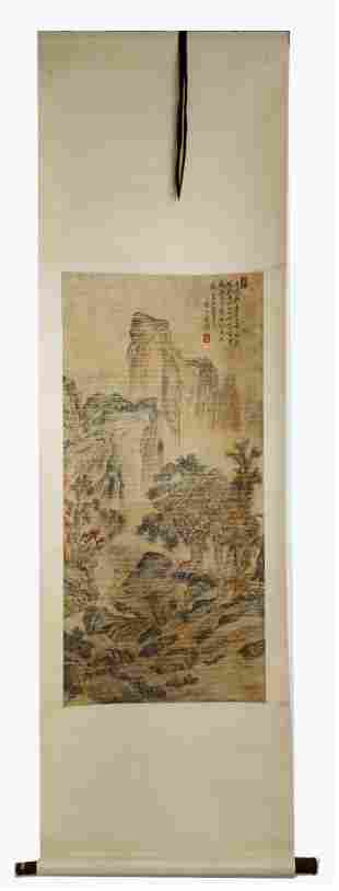 SIGNED CHEN HONGSHOU. A INK AND COLOR ON PAPER HANGING