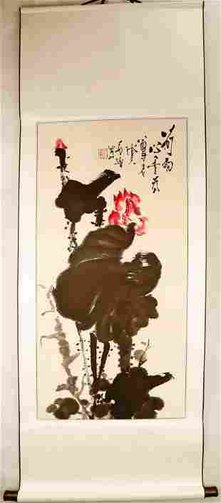 SIGNED SHI LU (1919–1982). A INK AND COLOR ON PAPER