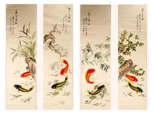 (4) SIGNED LING XUE (1955- ). A SET OF FOUR INK AND