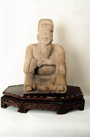 A FINE CARVED STONE CIVIL OFFICIAL STATUES