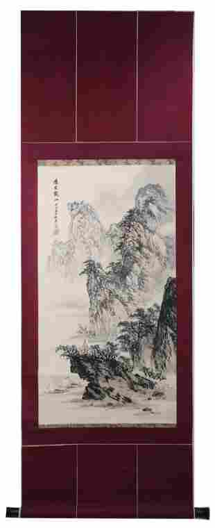 A INK AND COLOR ON PAPER HANGING SCROLL PAINTING. H218.