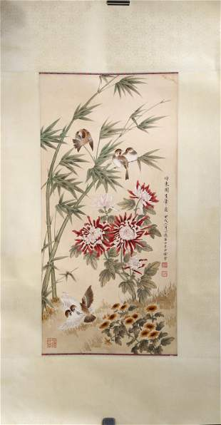 SIGNED XIU BANGDA (1911-2012). A INK AND COLOR ON PAPER