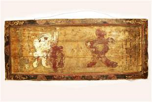 A QING DYNASTY QIANLONG PERIOD WOOD PLAQUE CARVED WITH
