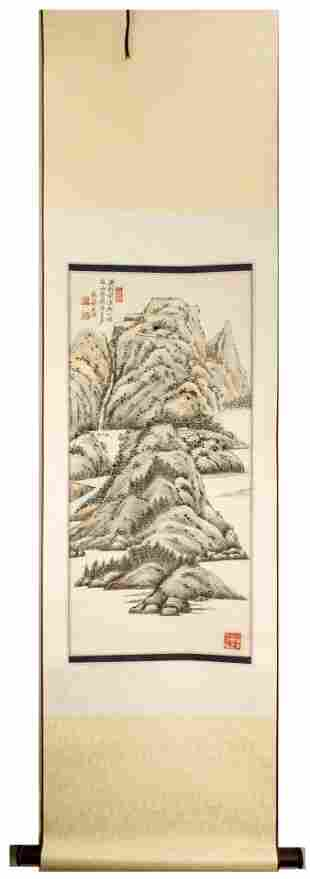 SIGNED HU BAOQI (1901-1993).A INK AND COLOR ON PAPER