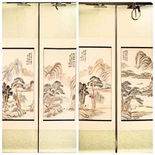 (4) A SET OF FOUR INK AND COLOR ON PAPER HANGING SCROLL