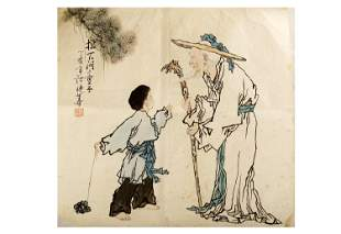 SIGNED XU YANHUA (1940 - ).A INK AND COLOR ON PAPER