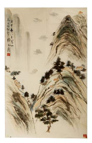 SIGNED LU YUANDING (1908-1998).A INK AND COLOR ON PAPER