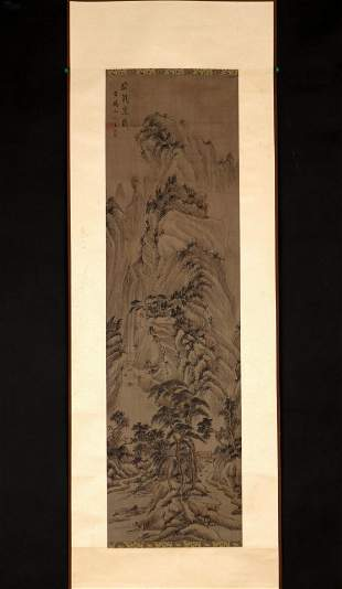 SIGNED WANG MENG(1308-1385).A INK AND COLOR ON SILK