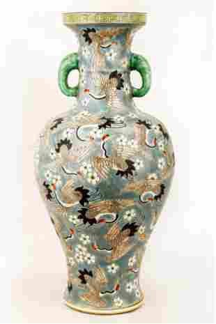 A FAMILLE VERTE SAUCER-VASE OF DISH BUCCAL. THE BASE
