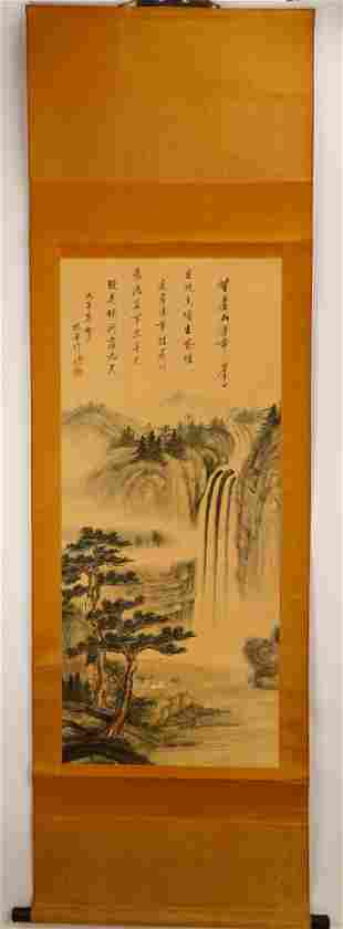 SIGNED YANG JIN (1644-1728). A INK AND COLOR ON SILK
