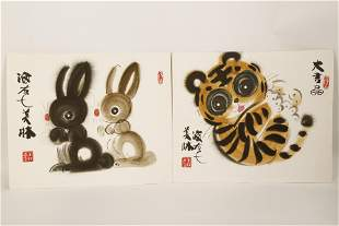 (2) SIGNED MEILIN HAN.A PAIR OF INK AND COLOR ON PAPER