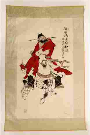 SIGNED FAN ZENG (1938-).A INK AND COLOR ON PAPER