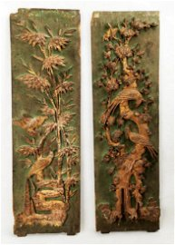 (2)  A PAIR OF CARVED WITH FLOWERS AND BIRDS DESIGN