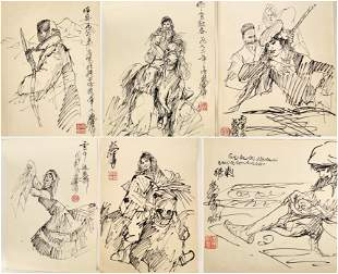 (6) SIGNED HUANG ZHOU(1925-1997).A SET OF SIX INK AND