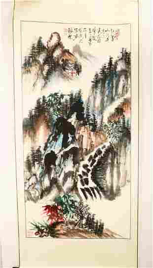 SIGNED YINGYOU ZHANG. A INK AND COLOR ON PAPER HANGING