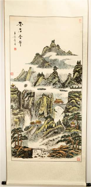 ATTRIBUTED AND SIGNED FULU WANG. A INK AND COLOR ON