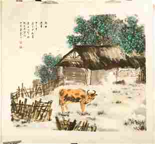 ATTRIBUTED AND SIGNED LI MOCHUAN. A LARGE INK AND COLOR