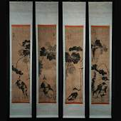 Chinese Qing Dynasty Painting-Four Screens