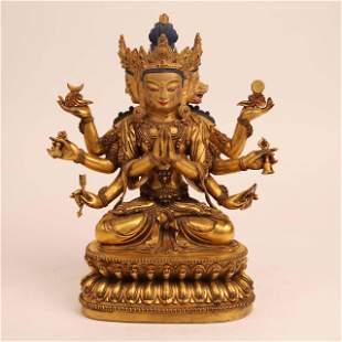 18 th century gilded bronze statue of Buddha