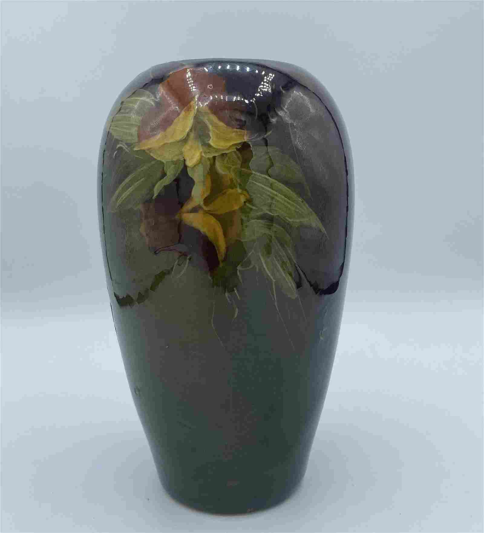 American Antique Weller Pottery Vase Green Brown Floral