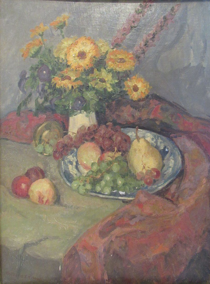 Oil Board Still Life Flowers & Fruits