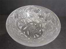Lalique Crystal Pinsons Bowl Signed Finch Design
