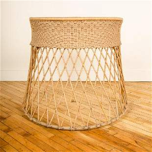 A  FRENCH RATTAN  DESK IN MANNER OF JEAN ROYERE