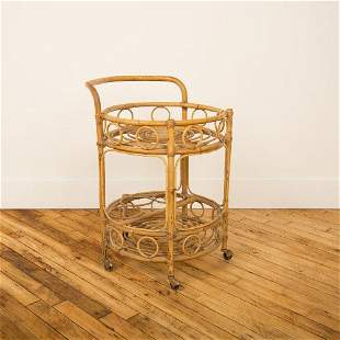 A FRENCH ROUND BAMBOO & RATTAN SERVING BAR CART