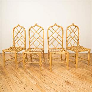 A SET OF FOUR FRENCH GOTHIC STYLE RATTAN CHAIRS