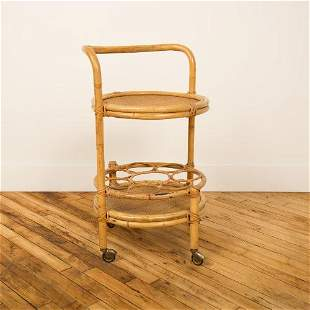 FRENCH BAMBOO & RATTAN ROUND SERVING BAR CART