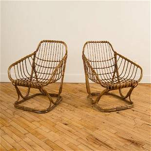 PAIR OF ITALIAN CURVED BACK RATTAN ARMCHAIRS