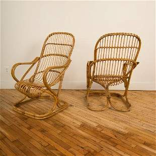A PAIR OF MCM ITALIAN RATTAN LOUNGE ARM CHAIRS