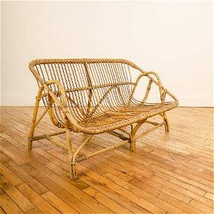 A MID CENTURY MODERN FRENCH TWO SEAT RATTAN SOFA