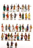 People of different races, painted, flat tin figures
