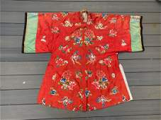 Fine Antique Chinese Red Silk Robe Textile Qing
