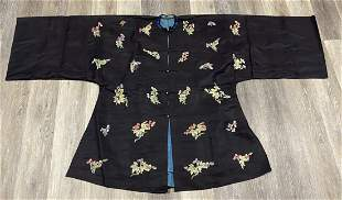 Chinese Antique Silk Black Robe with Peking Flowers