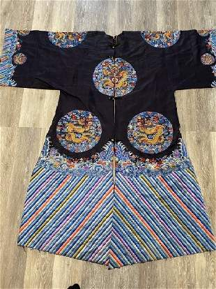 Majestic Antique Chinese Dragon Robe Surcoat Embroidery