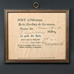 Colonial Maritime Passage Permit, John Wentworth